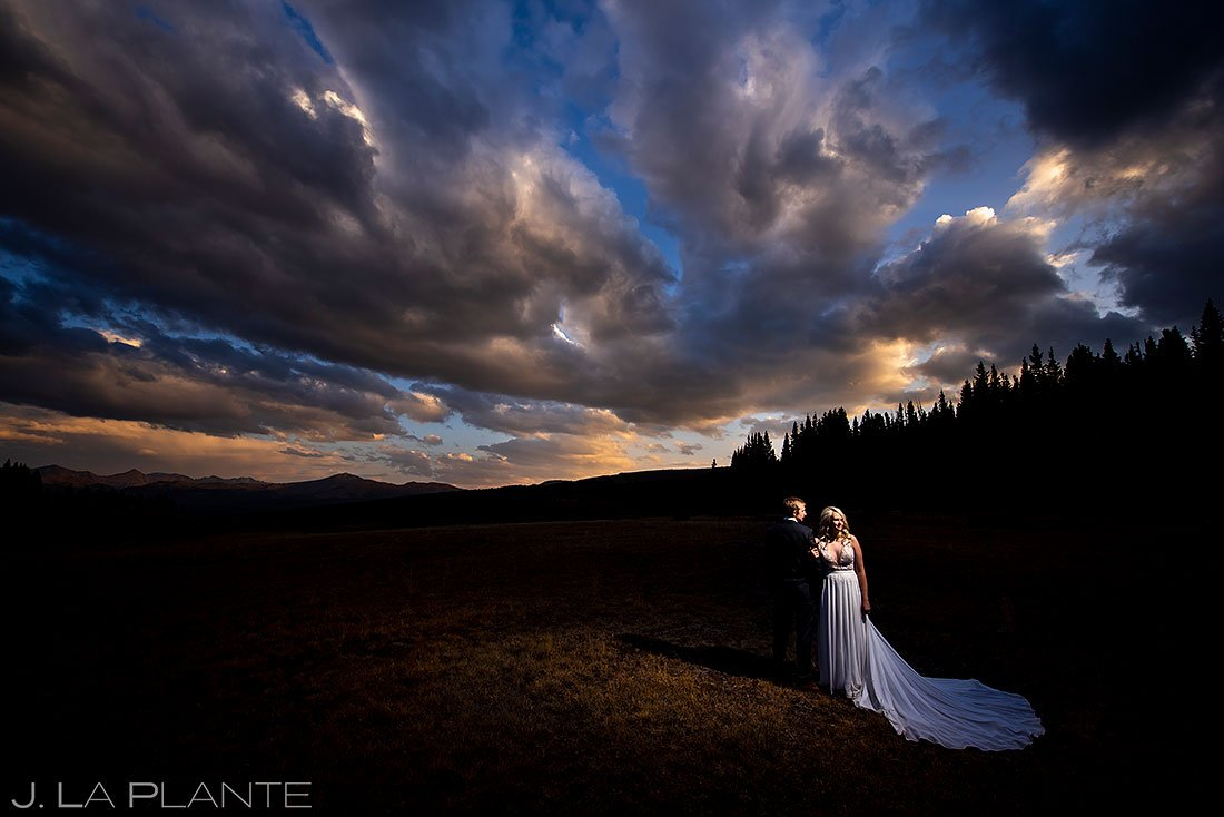 sunset wedding photo of bride and groom in colorado