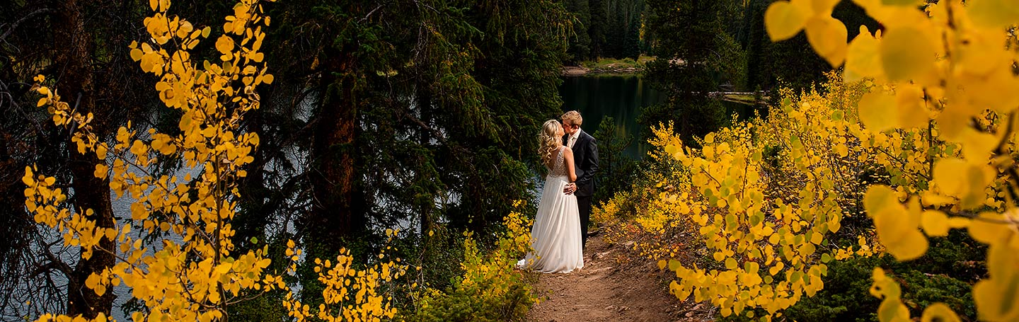 pandemic wedding in vail colorado with fall foliage