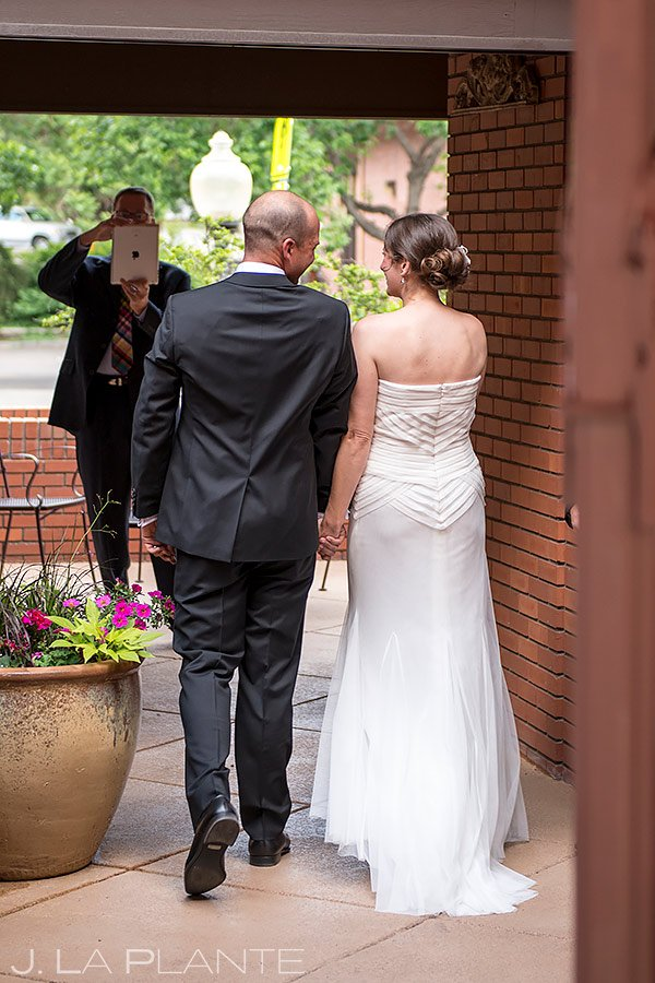 bride and groom leaving unplugged wedding ceremony