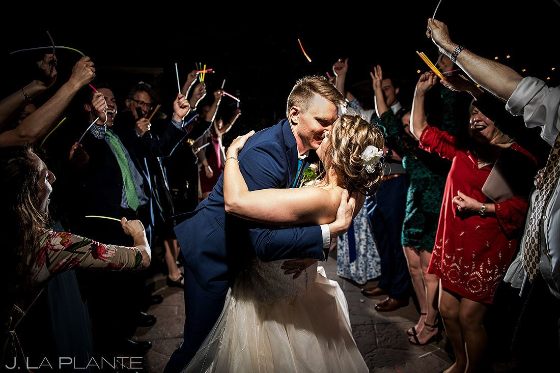 bride and groom glow stick wedding exit