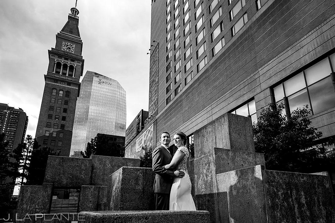 denver clock tower wedding bride and groom portrait