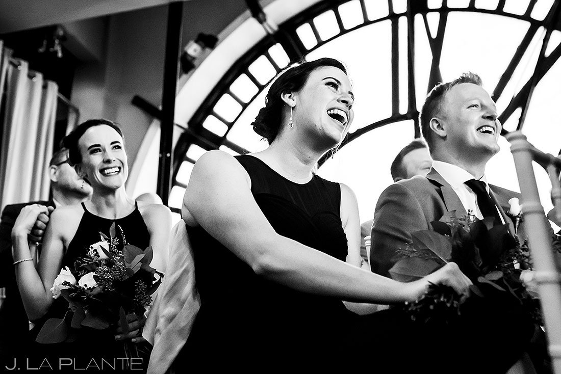 wedding guests at denver clock tower wedding ceremony