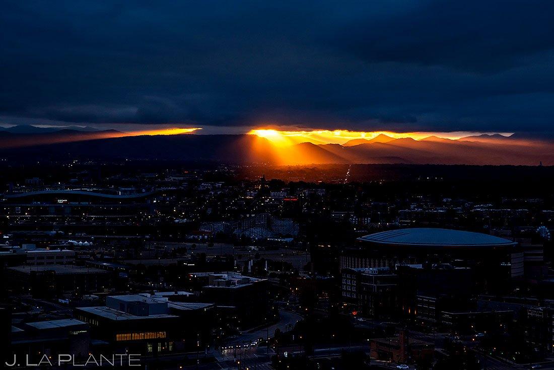 epic colorado sunset over the denver skyline