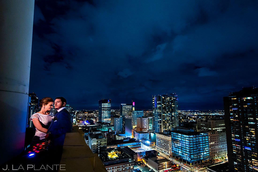 bride and groom on top of denver clock tower