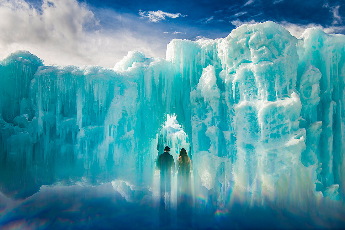 bride and groom to be ice castle engagement session