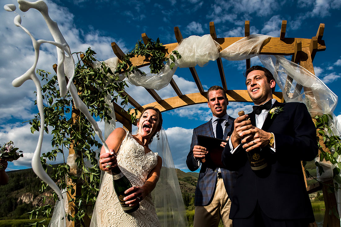 vibrant wedding photography at camp hale wedding in vail colorado