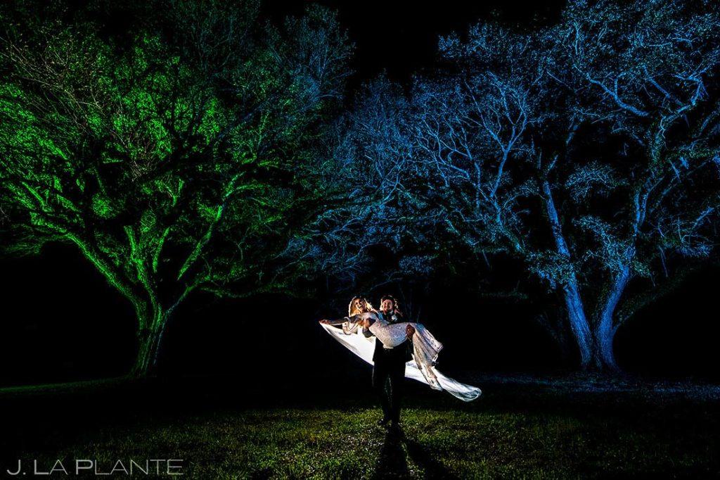 dream wedding shot of bride and groom at nighttime houston wedding
