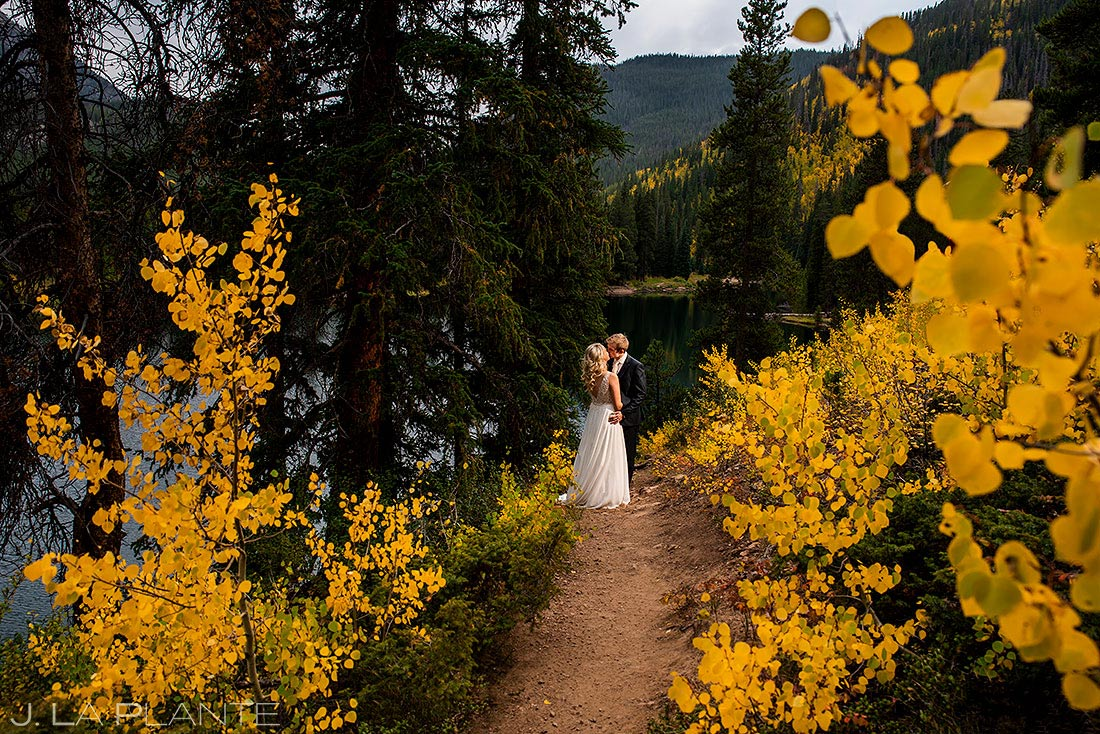 fall foliage post wedding session in colorado