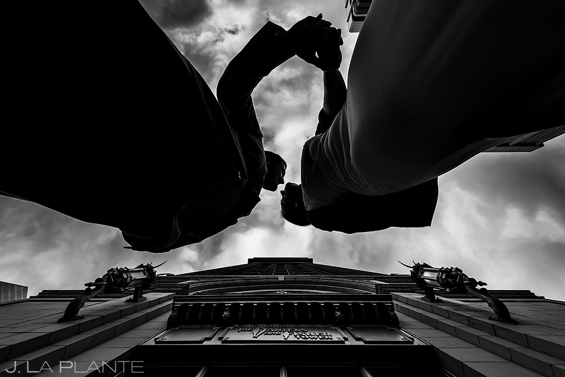 black and white portrait of bride and groom in downtown Denver