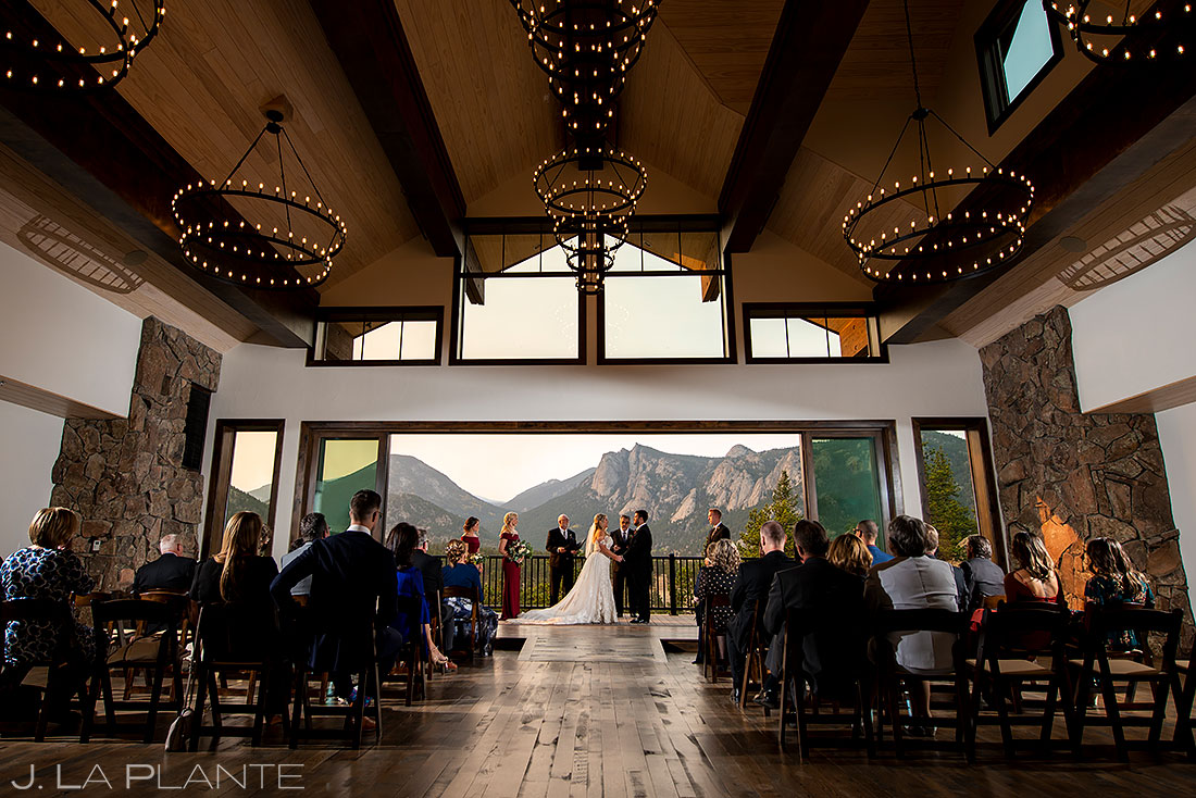 wide shot of rustic mountain wedding ceremony
