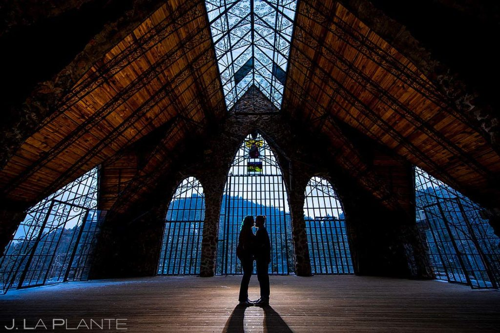 rustic mountain castle engagement in colorado