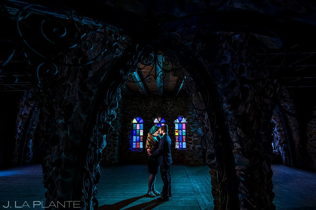 bishop castle engagement session in the winter