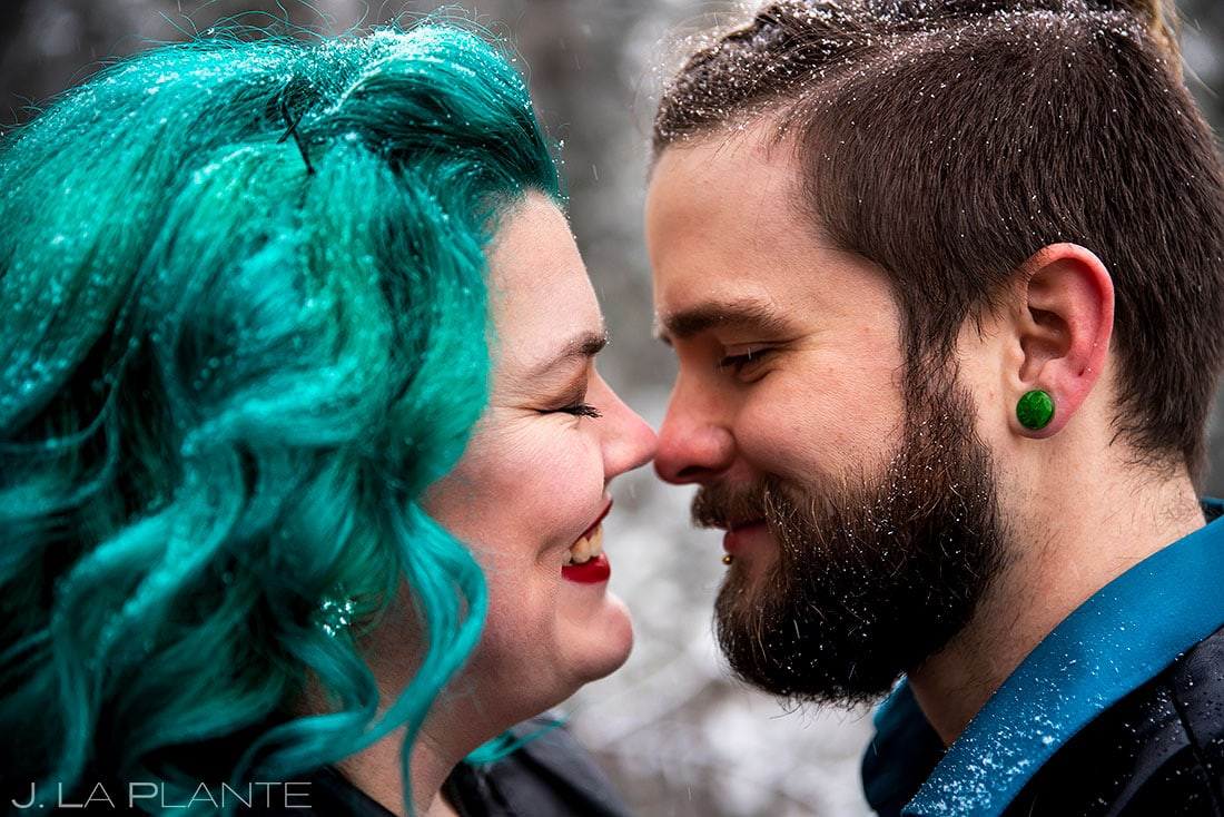 winter engagement session in colorado
