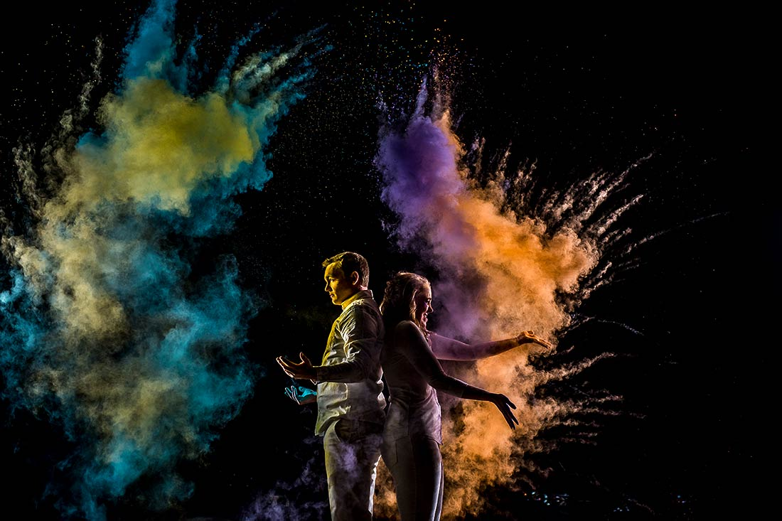 vibrant wedding photography engagement photo session using holi powder