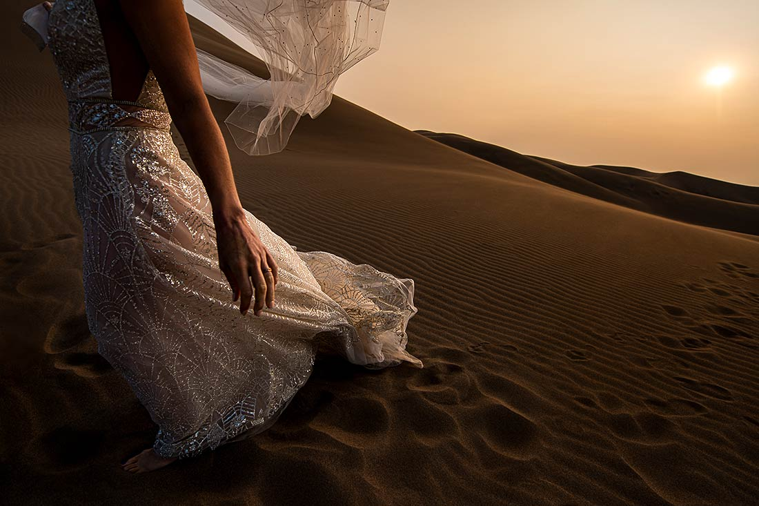 unique wedding dress at sand dunes wedding