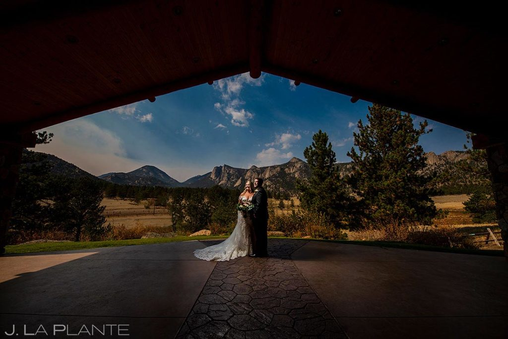 bride and groom under the pavilion at Black Canyon Inn wedding