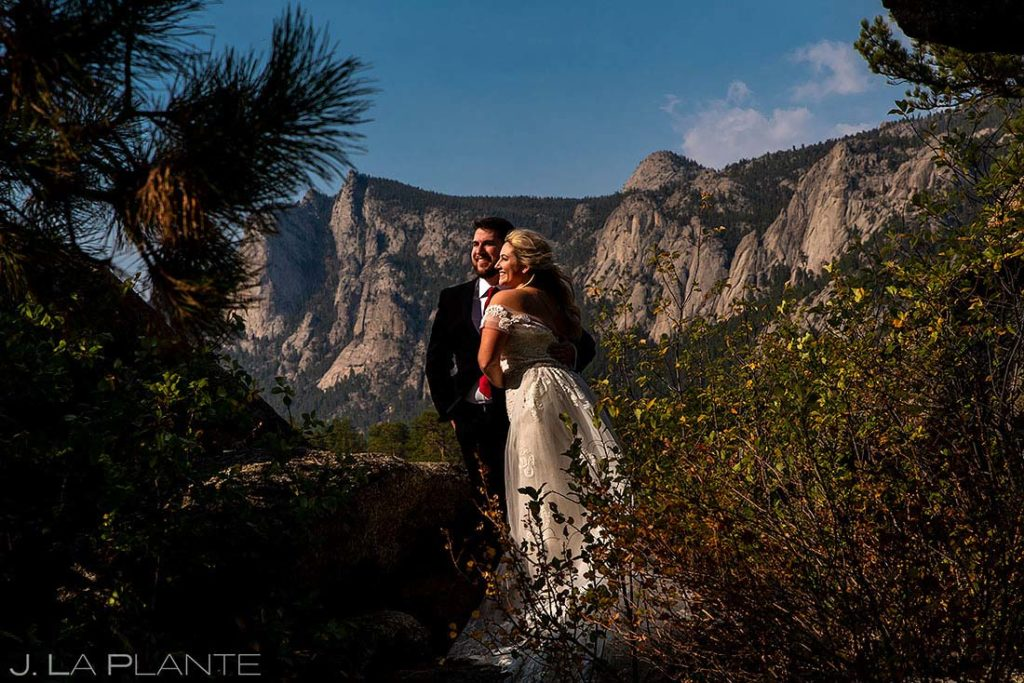 bride and groom portrait at Black Canyon Inn in Estes Park