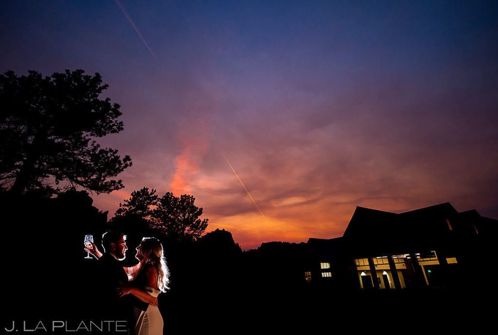 sunset wedding photo of bride and groom at Black Canyon Inn
