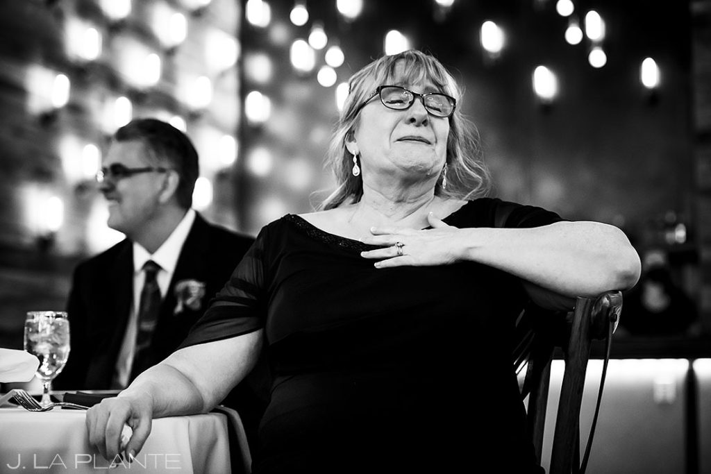 mother of the groom crying during toasts