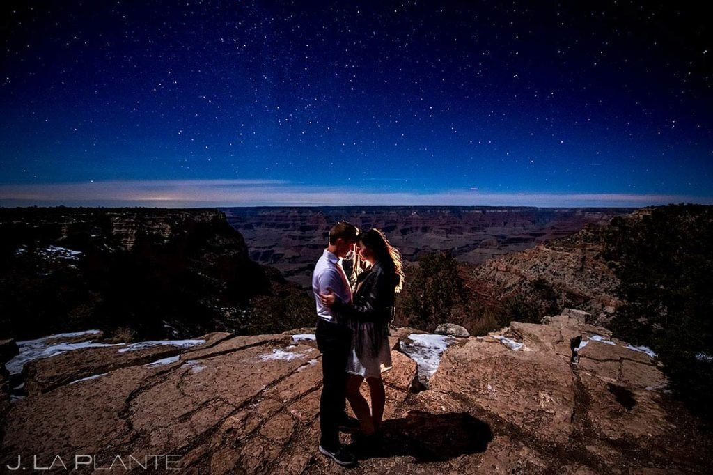 engagement session under the stars at the Grand Canyon
