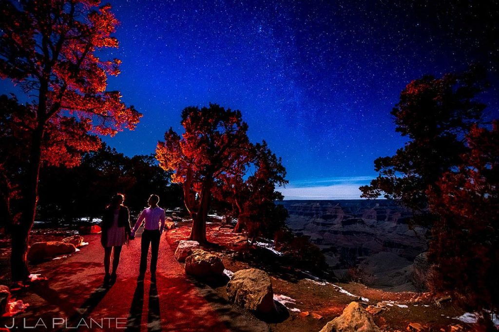 cool nighttime engagement photo under the stars