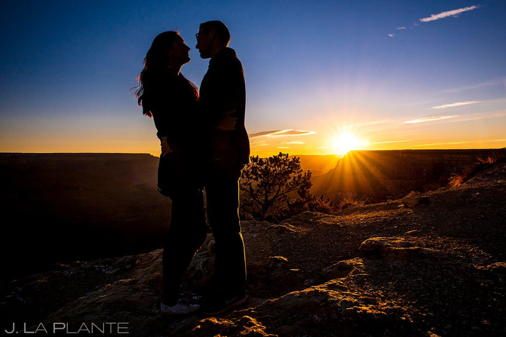bride and groom to be Grand Canyon engagement session at sunrise