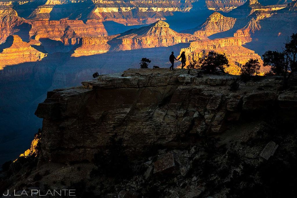 bride and groom hiking at the Grand Canyon