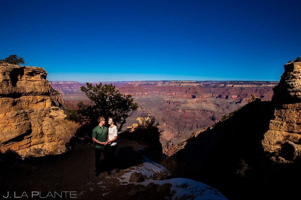 bride and groom to be at the Grand Canyon