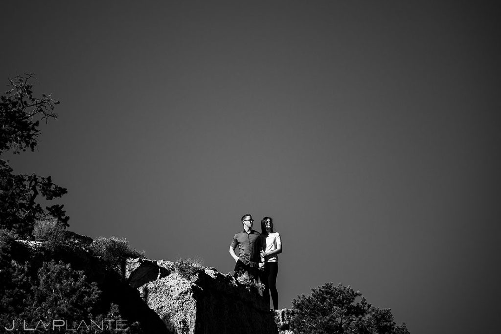 black and white engagement portrait of bride and groom to be