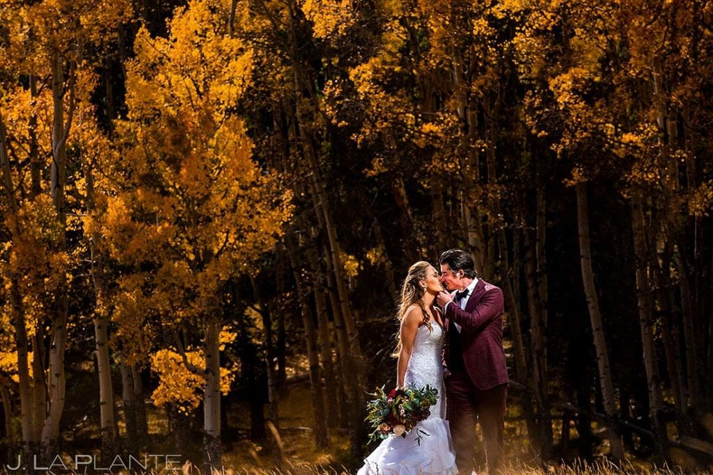 fall wedding at Della Terra portrait of bride and groom with aspen trees