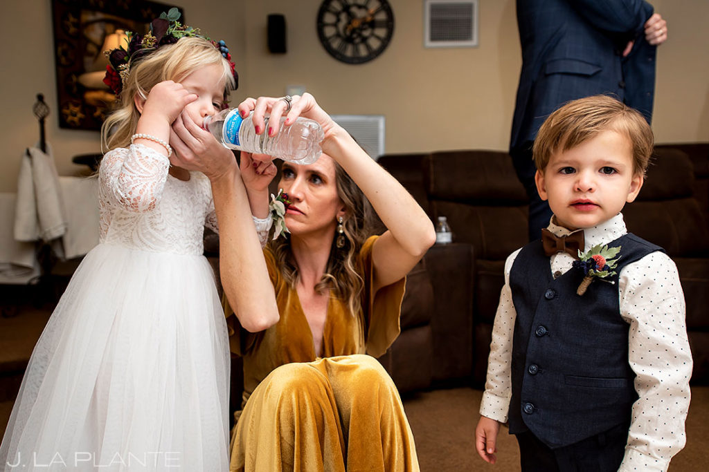 funny moment between flower girl and ring bearer