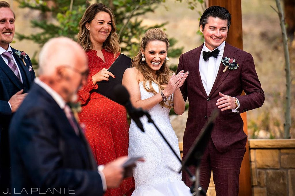 fall wedding at Della Terra outdoor wedding ceremony