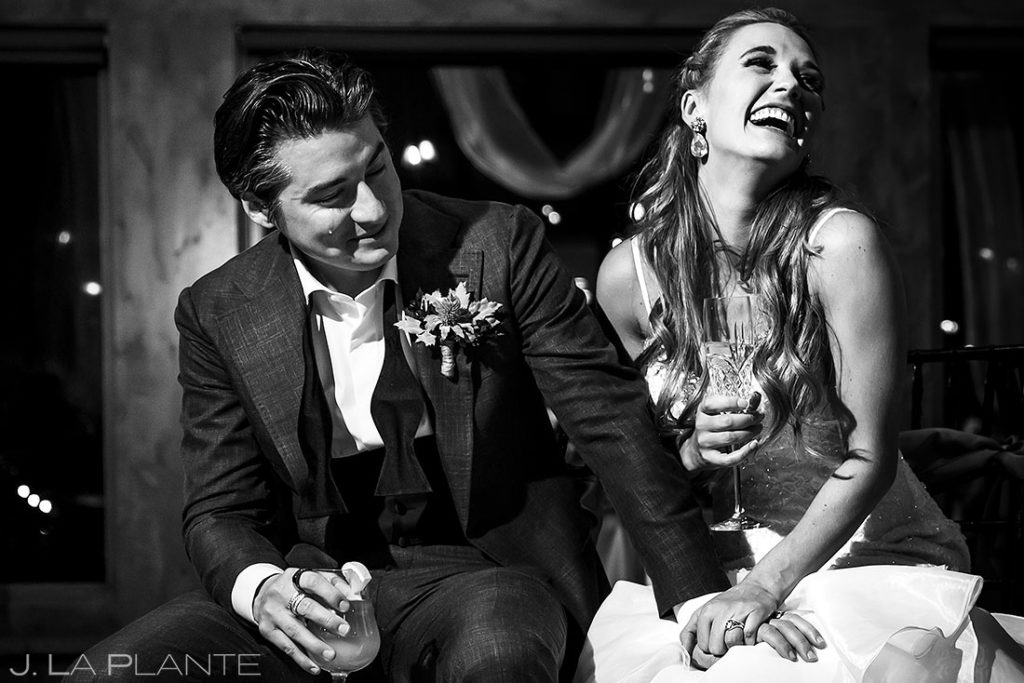 groom crying during toasts at fall wedding at Della Terra