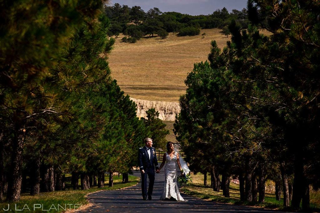 fall wedding at Spruce Mountain Ranch portrait of bride and groom