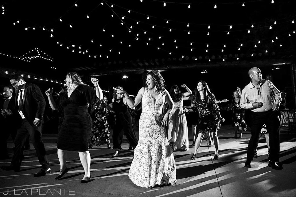 fall wedding at Spruce Mountain Ranch wedding reception dance party