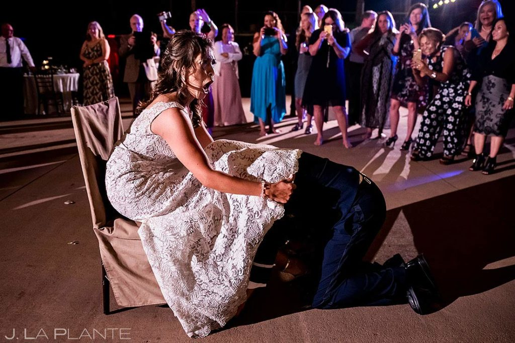 wedding reception garter toss in Colorado