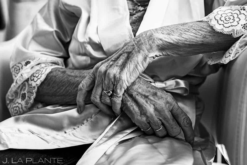 detail photo of grandmother's hands in black and white