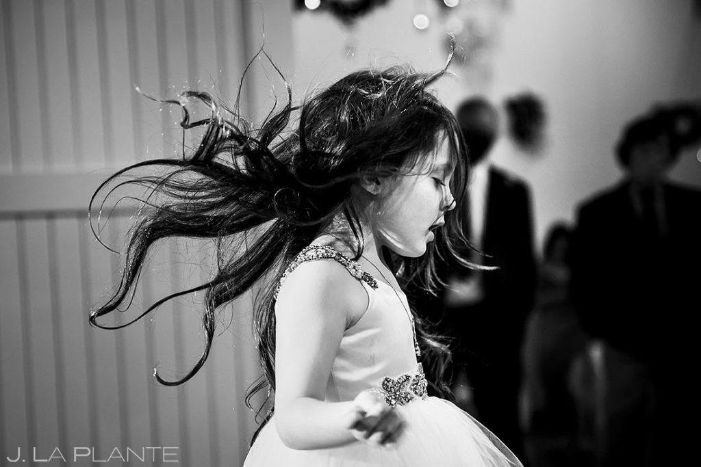 flower girl dancing during the reception