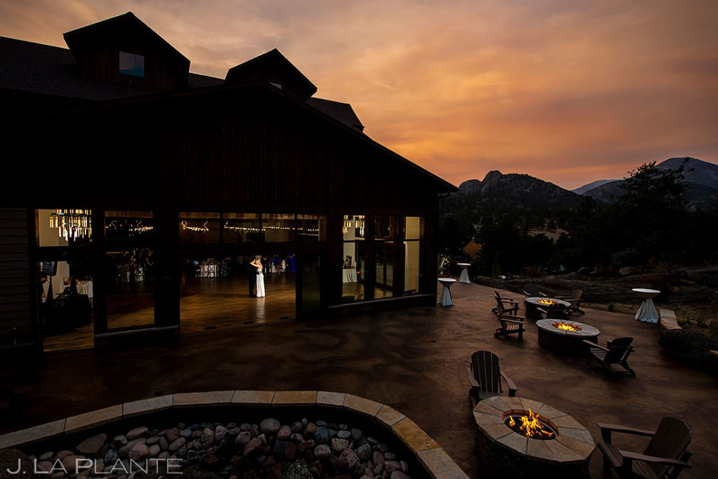 bride and groom first dance at Black Canyon Inn at sunset
