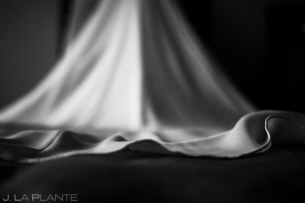 black and white close up photo of wedding dress