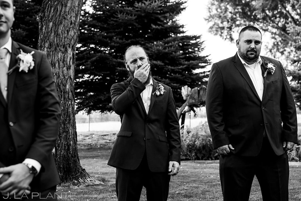 best man crying during summer wedding at Shupe Homestead