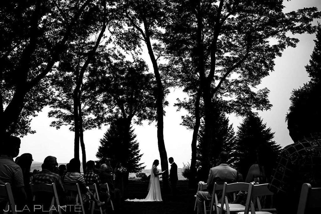 wedding ceremony at summer wedding at Shupe Homestead