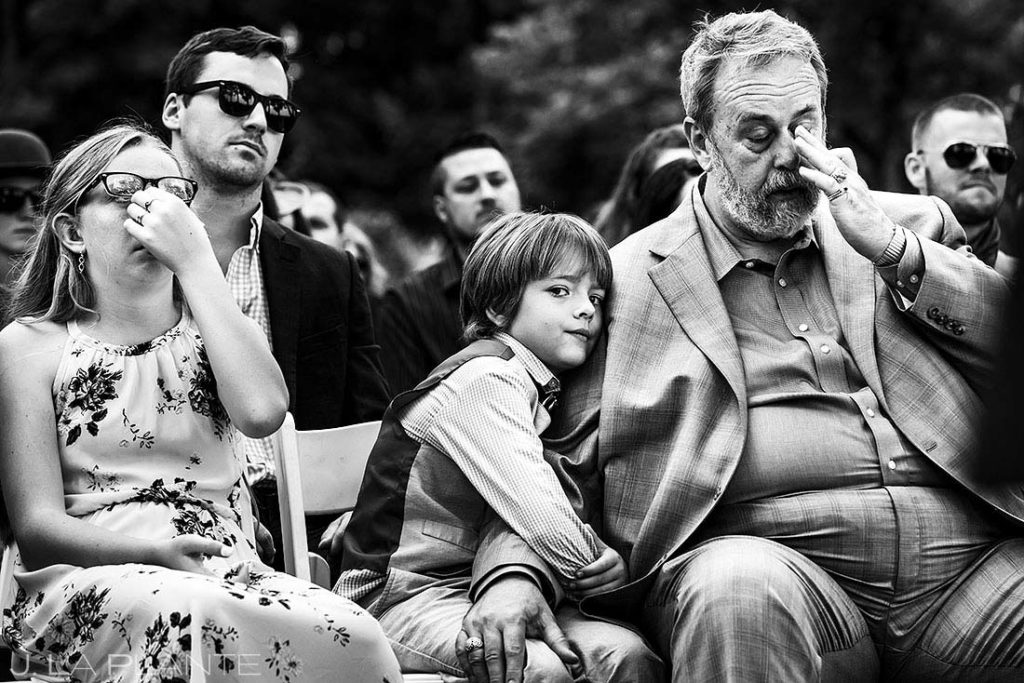 father of the groom crying during summer wedding at Shupe Homestead