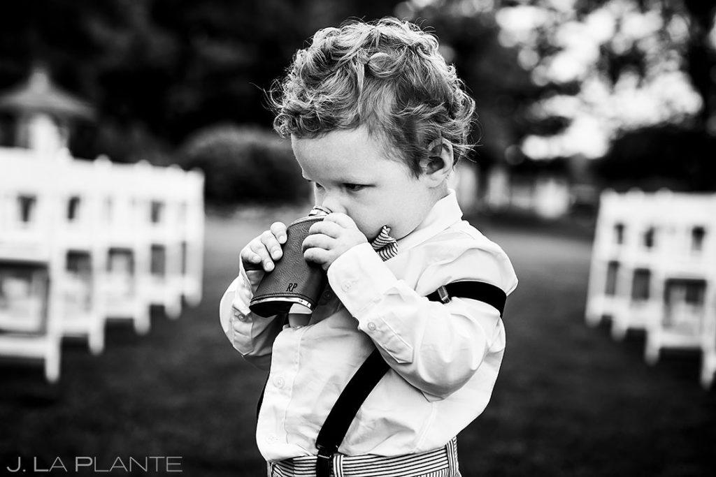 ring bearer at summer wedding at Shupe Homestead