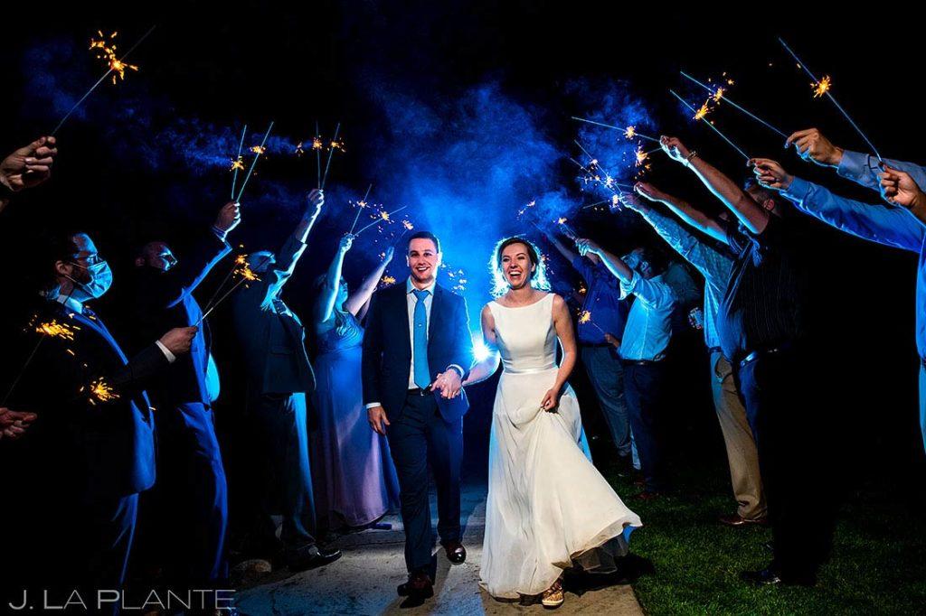 sparkler send off at summer wedding at Shupe Homestead