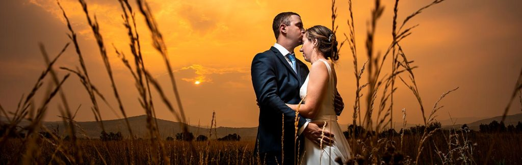sunset wedding portrait at summer wedding at Shupe Homestead