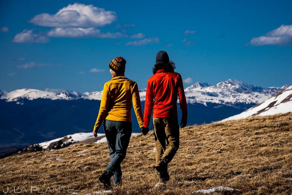 couple hiking during Hoosier Ridge engagement session
