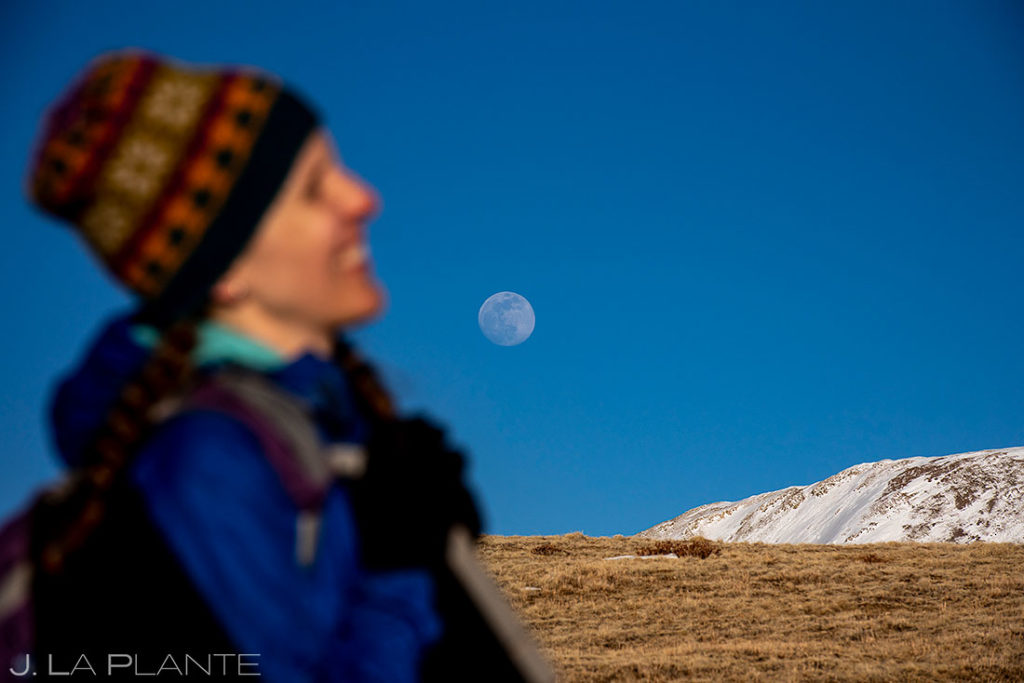 moon rising over Hoosier Ridge in Alma, Colorado