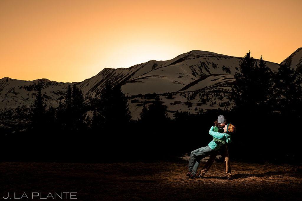 sunset engagement at Hoosier Ridge Colorado