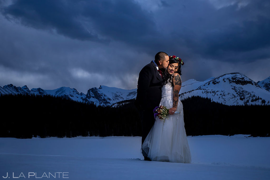 portrait of the bride and groom at Brainard Lake elopement